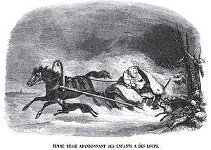 Infanticide - Femme Russe abandonnant ses enfants à des loups. Charles Michel Geoffroy, 1845.