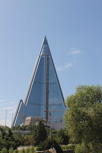 Culture of North Korea - The incomplete Ryugyong Hotel in 2011.