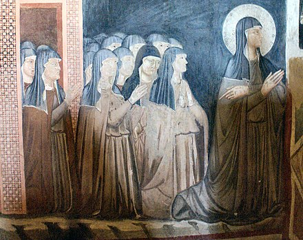 Fresco of Saint Clare and sisters of her order, church of San Damiano, Assisi SDamiano-Clara og sostre.jpg