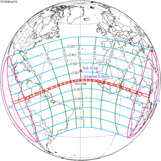 Solar eclipse of May 31, 2049 Future annular solar eclipse