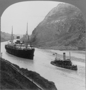 SS Aleutian - SS Panama in the Culebra Cut on Sunday 7 February  1915 - the first excursion to go through the Panama Canal.