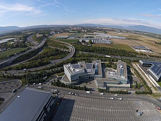 STMicroelectronics - STMicroelectronics building in Geneva, Switzerland, aerial view