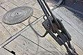 Saga Oseberg Details Rope coil curl spiral Taukveil Timber deck Skipsdekk Wood planks Pulley block Taljeblokk Viking ship replica 2012 Tønsberg harbour havn Norway 2019-08-16 04303.jpg