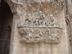 Détail de la Sagrada Familia de Gaudi à Barcelone