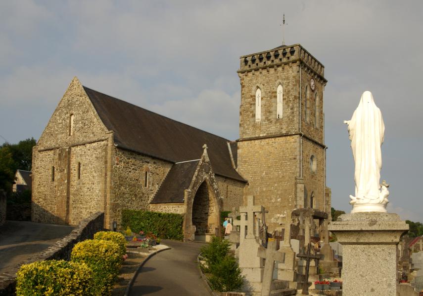 L'église St jean-Baptiste (XIème siècle) à St Jean-le-Thomas, Manche.