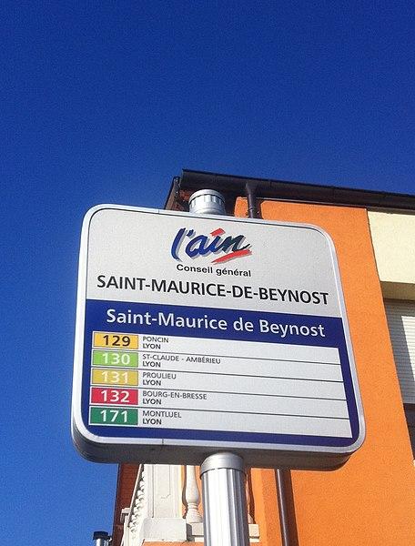 Lignes de car de l'Ain desservants par le passé, Saint-Maurice de Beynost.