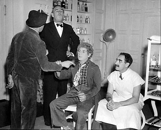 A Day at the Races (film) - The Marx Brothers on the set with director Sam Wood