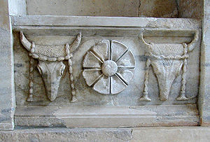 Bucranium - Garlanded bucrania on a frieze from the Samothrace temple complex