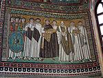 San vitale, ravenna, int., presbiterio, mosaici di giustiniano e la sua corte 01.JPG