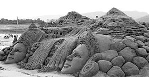 Sand sculpture at Bandrabhan,Hoshangabad.JPG