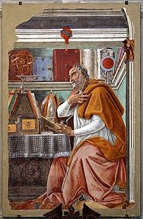 <i>Saint Augustine in His Study</i> (Botticelli, Ognissanti) fresco by Sandro Botticelli