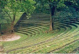 The University of Peradeniya's Sarachchandra open-air theatre, named in memory of Ediriweera Sarachchandra, Sri Lanka's premier playwright Sarachchandra Theatre.jpg