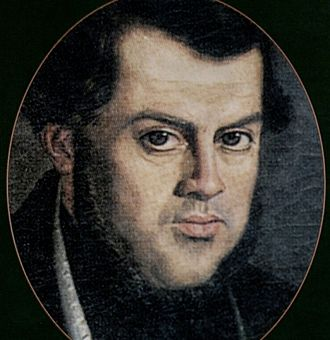 Facundo - Portrait of Sarmiento at the time of his exile in Chile; by Franklin Rawson