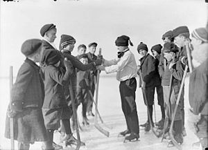 Shinny - A group of boys picking teams for a game of shinny, Sarnia, Ontario, 1908