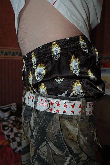Satin boxer shorts sag.