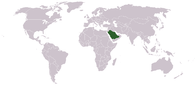 A map showing the location of Saudi Arabia