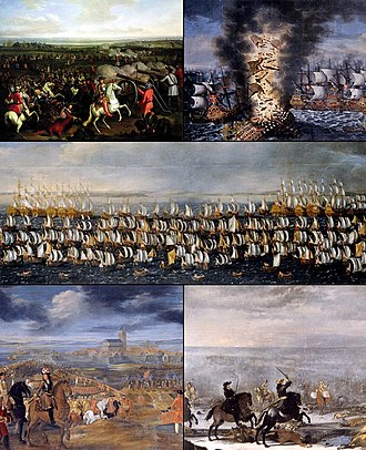 Scanian War - Clockwise from top: Battle of Fehrbellin, Battle of Öland, Danish invasion fleet, Siege of Landskrona, Battle of Lund