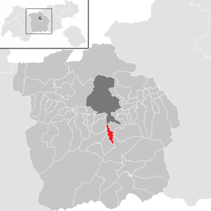 Location of the municipality of Schönberg in the Stubai Valley in the Innsbruck-Land district (clickable map)