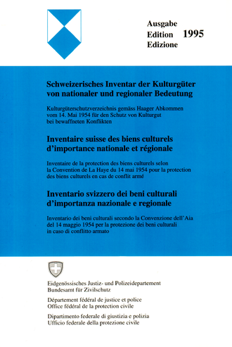 Swiss Inventory of Cultural Property of National and Regional Significance - The cover of the 1995 edition