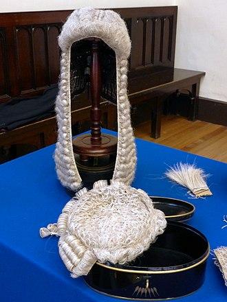 Barrister - A barrister's wigs, Parliament Hall, Edinburgh