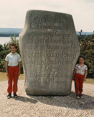 Scouting in South West England - The monument commemorating the first Scout camp