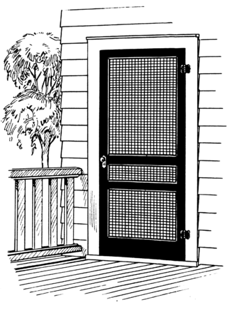 Screen door - A hinged screen door