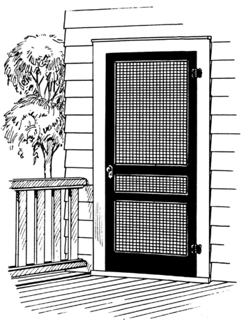 Line art of a door screen.