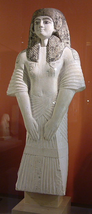 Ramose (TT7) - High-gloss painted limestone statue, inscribed with hieroglyphs and cartouches. (atypical scribe statue, reflecting his high standing)