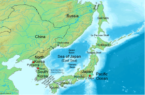 Japan–Korea disputes - Image: Sea of Japan Map