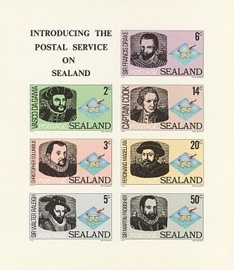 Coins and postage stamps of Sealand - Early Sealandic stamps.