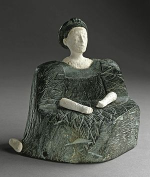 Bactria–Margiana Archaeological Complex - Seated Female Figure, chlorite and limestone, Bactria, 2500–1500 BC LACMA
