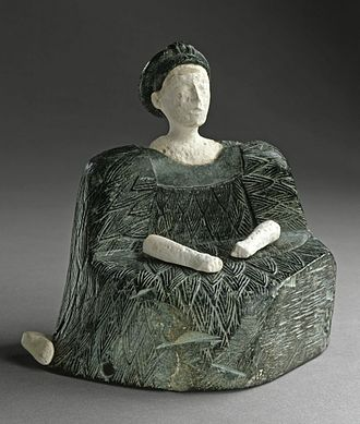 Bactria–Margiana Archaeological Complex - Seated Female Figure, chlorite and limestone, Bactria, 2500–1500 BC (Los Angeles County Museum of Art)