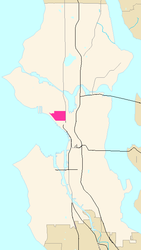 Map of Lower Queen Anne's location in Seattle