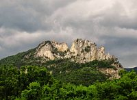 Seneca Rocks in West Virginia, the largest granite face on the east coast of the United States