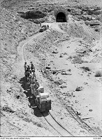 Senussi Cave narrow gauge railway near Tobruk, Libya, AWM No 020389.JPG