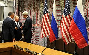 Foreign involvement in the Syrian Civil War - Russian (Lavrov, Putin) and US (Kerry) representatives meet, in the United Nations headquarters in New York, to discuss the situation in Syria on 29 September 2015