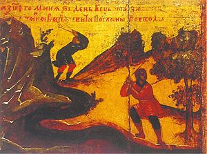 Sviyazhsk - Image: Sergius of Radonezh vita icon (17 c., Yaroslavl museum) detail 02