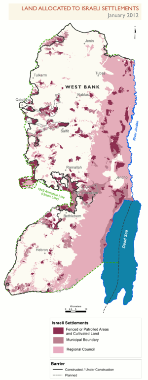 United Nations Security Council Resolution 2334 - Parts of the West Bank allocated to the settlements, as of January 2012 (in pink and purple color).