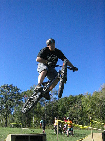 Freeriding on a hardtail freeride bike.