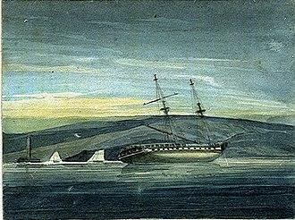 Tatihou - Shannon on shore, by Edward Pelham Brenton, c.1803, in the National Maritime Museum, Greenwich