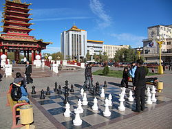 A public chess set at Elista town center