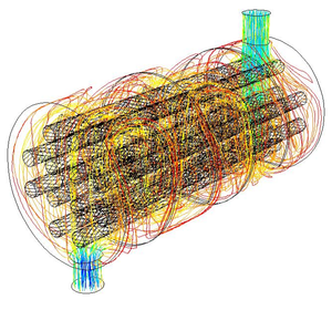 Shell and tube heat exchanger - Fluid flow simulation for a shell and tube style exchanger; The shell inlet is at the top rear and outlet in the foreground at the bottom