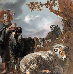 Portrait of a young shepherd with sheep and goats