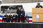 Ship sponsor of USS Wichita (LCS-13) preparing to give remarks at ship commissioning ceremony US Navy 190112-N-DA434-175.jpg