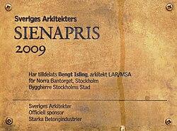 Kasper Salin-priset og Sienaprisen er to af dem sammenlagt syv priser som hvert år uddeles af Sveriges Arkitekter på Arkitekturgallaen.