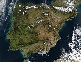 Satellitfoto af den iberiske halvø med sierra nevada indrammet