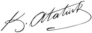 The signature of Mustafa Kemal Atatürk, the fo...