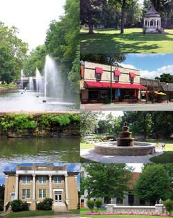 Clockwise, from top: Gazebo in City Park, Main Street Siloam Springs, fountain in Twin Springs Park, entrance to John Brown University, Sager Creek Arts Center, fountains in Sager Creek