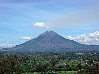 Mount Sinabung volcano mountain in North Sumatra, Indonesia