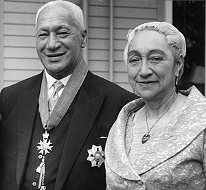 Eruera Tirikatene - Sir Eruera, Minister of Forests, with Lady Tirikatene, in October 1960, shortly after he was knighted. He is wearing the insignia of the Knight Commander of the Order of Saint Michael and Saint George.